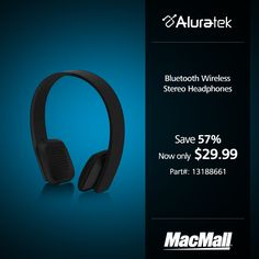 Get black #Aluratek bluetooth headphones for only $29.99 at MacMall.