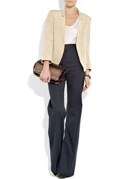 Black wide-leg pants with a cream blazer...classic!