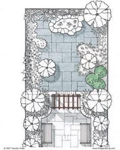 Solutions for Small Gardens, an architect shows tricks for making small garden spaces seem larger. Division, creating separate spaces increases the perception of space if done with proportion.