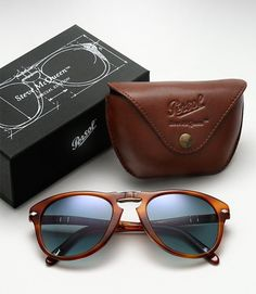 Steve McQueen Folding 714SM Sunglasses by Persol. Would look pretty cool wearing this on a scrambler