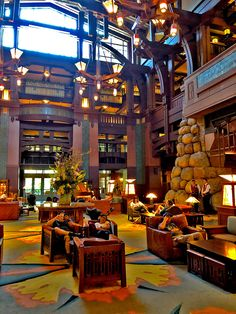 Cozy comfort in the lobby at Disney's Grand Californian Hotel. First Disneyland, Disneyland California, Disneyland Resort, Disney Hotels, Disney Vacations, Disney Trips, Disney Parks, Disneyland Grand Californian, Abandoned Malls