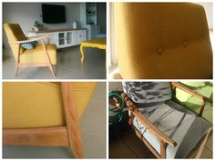armchair makeover mustard-colored fish bone fabric, vintage style by Adida home decor and furniture makeover