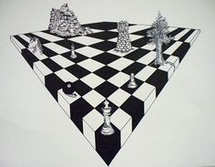 2 point perspective chess board drawing
