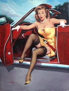 ELVGREN STEPING OUT Hot Rod Burlesque Pinup by VANGUARDGALLERY, $18.95