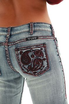"""""""Cowgirl Tuff"""" Paisley Red Jean"""