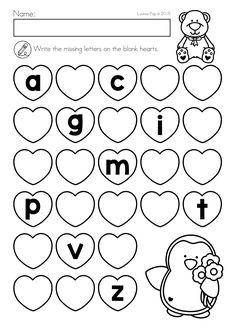 Worm's Missing Letters Worksheet for Kindergarten
