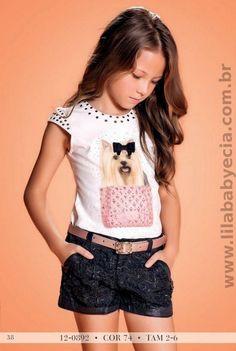 BLUSA Infantil SHORTS JEANS Diforini moda Infanto juvenil Animal Face