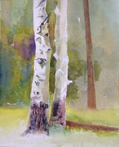 Step by step on painting aspens - great blog!