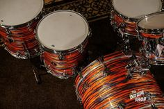 Cherry Jazz Series Tiger Oyster With Chrome Hardware Vintage Drums, Oysters, Jazz, Shells, Cherry, Chrome, Hardware, Conch Shells, Jazz Music