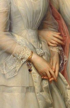 Heinrich August Georg Schiøtt - Danmark 1823-1895 - Portrait of the sisters Malvina Anny Louise and Hilda Sophie Charlotte Reventlow - Detail