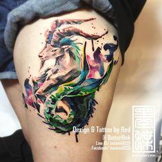 "669 Likes, 19 Comments - watercolor tattoo  (@incisive1020) on Instagram: ""水彩潑墨風格摩羯座 2016臺灣台北國際紋創刺青藝術展 當日現場最佳作品第二名 三個半小時刺完 2016 Taipei International Cultural & Creative…"""