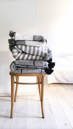 Image of Moroccan POM POM Cotton Blanket - Wide Bands of Gray