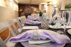Lavender & Grey table setting at the Toronto Wedding Chapel!