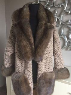 Купить Вязаное пальто-кардиган с соболем. - мех, мех натуральный, мех соболя, соболь