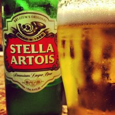 Stella Artios - a light, somewhat hoppy Belgian lager. It's nothing spectacular, but there are certainly worse beers to drink.