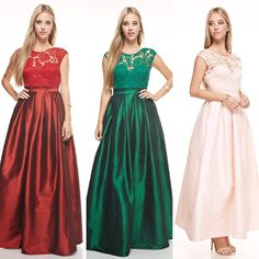 Affordable floor length Lace and Taffeta Long Bridesmaid dress Party gown