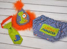 Boys Birthday Party Hat, Diaper Cover, Tie - First Birthday, Smash Cake Pics, Photo Prop - Little Monster Lil Monster in Orange Navy Blue Lime Green.  Monster Cake Smash Outfit.  Li'l Monster Cake Smash Outfit.
