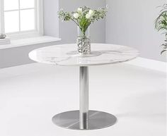 Dutra round marble table in white gloss with metal base - 42267 marble dining table and 6 chairs, modern & contemporary. Round Marble Table, White Round Tables, White Dining Table, Round Table Top, Glass Dining Table, Round Dining Table, Dining Chairs, Dining Room, Oak Furniture Superstore