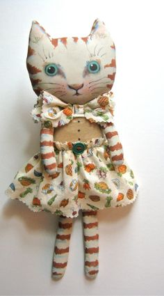 cat art doll ooak vegetable print fabric hand by sandymastroni