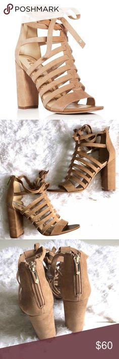 5411cba86ea2 Sam Edelman Wrap Sandals - Size 8 Sam Edelman tan wrap around sandals.  Suede material