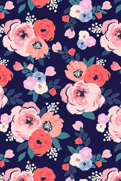 Aurora-Floral by crystal_walen - Hand painted floral pattern on fabric, wallpaper, and gift wrap.  Pink, peach, and mauve flowers on a navy background.  #floral #fabric #florals #handpainted #weddingflowers #homedecor #handpainted #flower