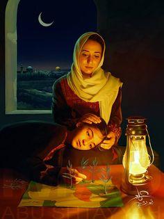 Painting of the Artist Imad abu Shtayyah. Palestine Art, Palestine History, Iranian Art, Arabic Art, Indian Paintings, Amazing Paintings, Islamic Art, Female Art, Fantasy Art