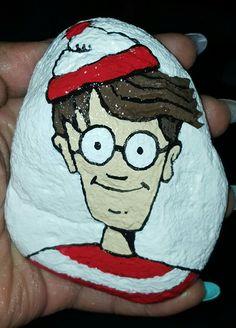 Where's Waldo painted rock #classycutie