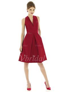 Bridesmaid Dresses - $92.19 - A-Line/Princess V-neck Knee-Length Satin Bridesmaid Dress (0075058693)