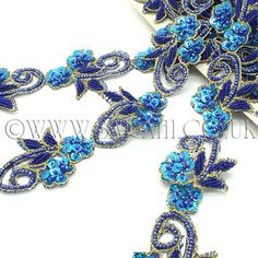 BLUE TURQUOISE FLORAL BEADED SEQUIN TRIM - sarahi.co.uk