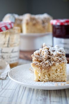Best Crumb Cake Ever. Entenmann's can suck it, this thing is so much better. And it has cream cheese and jam!