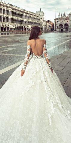 36 Chic Long Sleeve Wedding Dresses ❤ long sleeve wedding dresses ball gown low back lace julia kontogruni ❤ See more: http://www.weddingforward.com/long-sleeve-wedding-dresses/ #weddingforward #wedding #bride