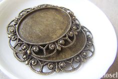 6 pcs of Antique Bronze Lovely Oval Cameo Base Settings Match 30x40mm Cameo A46