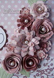 The flowers were all made from Core'dinations cardstock from the Distress and Whitewash collections using the dies already mentioned,