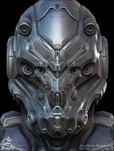 The goal of this project was to study in detail the entire process of creation of a very high detailed sci-fi Helmet. From the Zbrush concept to the final picture. Helmet Armor, Suit Of Armor, Body Armor, Robot Concept Art, Armor Concept, Robot Design, Helmet Design, Zbrush, Cyberpunk
