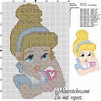 Baby Cinderella disney with lollipop free cross stitch pattern 50x86 13 colorsù