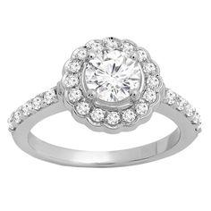Elora 14k Gold 1 3/8ct TGW Round White Sapphire and White Diamond Accent Engagement Ring (I-J, I1-I2) (Size