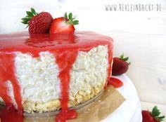 No Bake Strawberry & Cream Ricepudding Cake / Milchreis-Törtchen   Foodblog rehlein backt