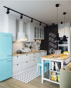 Home, sweet home! Kitchen Inspiration : Scandinavian Interior Design The Definitive Source for Int Kitchen Hoods, New Kitchen, Vintage Kitchen, Kitchen Decor, Kitchen Ideas, Modern Retro Kitchen, Kitchen Cabinets, Kitchen Counters, Island Kitchen