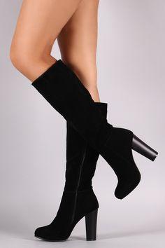 Knee High Vegan Leather Chunk Heel Boot
