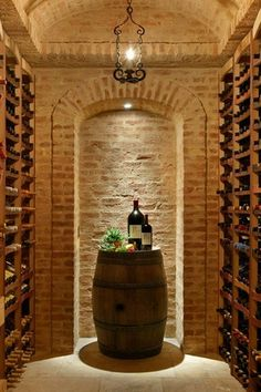 Mediterranean Wine Cellar with Bulbrite dimmable led downlight retrofit recessed lighting kit, limestone tile floors