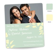 """""""Butterfly Blossoms"""" Save the Date Magnet - personalized in Celadon and Butter."""