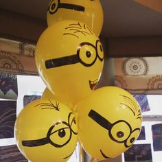 Yellow balloons +sharpies equals awesome minion balloons for my twin  sons'…