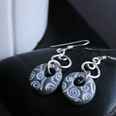 Double Silver Polymer Clay Earrings with White Stamped Swirls, Handmade Jewelry, Wearable Art.