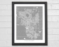 Calgary Streets Map Art - Map Print - Customized Map - City Collection by TheMapCollection on Etsy https://www.etsy.com/listing/229145969/calgary-streets-map-art-map-print