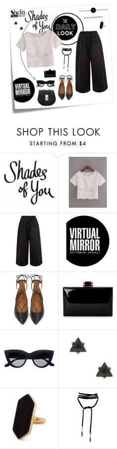 """black & white"" by daria-pac ❤ liked on Polyvore featuring Post-It, Edit, Ray-Ban, Aquazzura, Jaeger, croptop, crop, blackandwhite, Sheinside and shein"