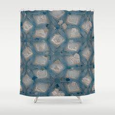 Cement and Aqua Blue Gunk #8294 Shower Curtain by Celeste Sheffey of Khoncepts - $68.00  #homedecor #bathroom
