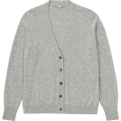UNIQLO 100% Cashmere V Neck Cardigan ($120) ❤ liked on Polyvore featuring tops, cardigans, v-neck tops, v neck cardigan, vneck cardigan, uniqlo cardigan and vneck tops
