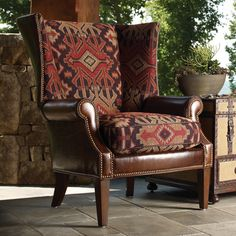 Lexington Home Brands Fieldale Lodge Marissa Leather and Fabric Wing Chair traditional armchairs Southwestern Chairs, Southwest Decor, Southwestern Decorating, Southwestern Style, Southwestern Upholstery Fabric, Chair Upholstery, Chair Fabric, Wingback Chair, Armchair