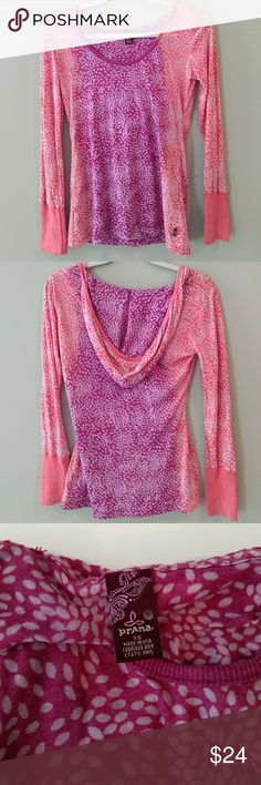 PrAna Burnout Hooded Top. Women's size XS burnout PrAna long sleeve top with hood.  Care tag has been torn out.  Super soft! Prana Tops Tees - Long Sleeve