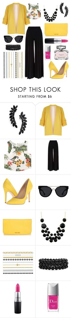 """""""Untitled #316"""" by angelicaaans ❤ liked on Polyvore featuring Cristabelle, River Island, MANGO, Marco de Vincenzo, Charles by Charles David, Quay, Miu Miu, Bling Jewelry, MAC Cosmetics and Christian Dior"""